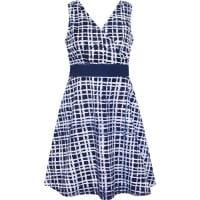 Emi Dress - Empire Plaid - Blau