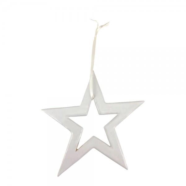 Nachhaltiger Christbaumschmuck Stern Weiß Mifuko