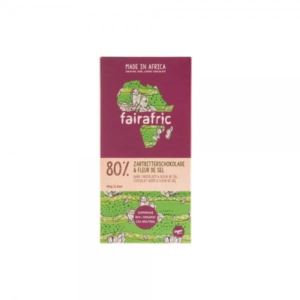 Schokolade aus Ghana Fairafric 80 Zartbitter Fleur de sel