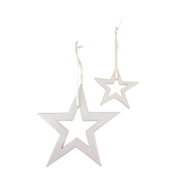 Weihnachtsstern Keramik Deko Weihnachten Stern aus Porzellan Weiß Mifuko
