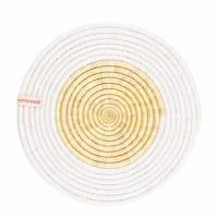 Upcycling Tischset Womencraft weiß rund geflochten
