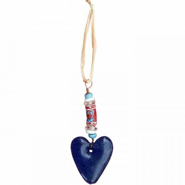 Adinkra Glasanhänger - Herz - Blau
