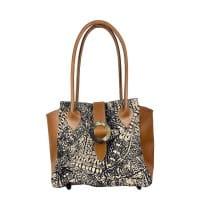 Henkeltasche Leder Ethno Muster Bag Afar Textiles