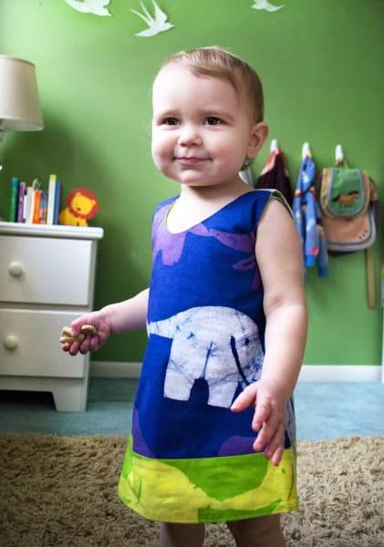 Girls Reversible Dress - Elephants Blue Lime