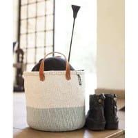 Afrikanische Körbe Kiondo Basket Mifuko M Light Blue White