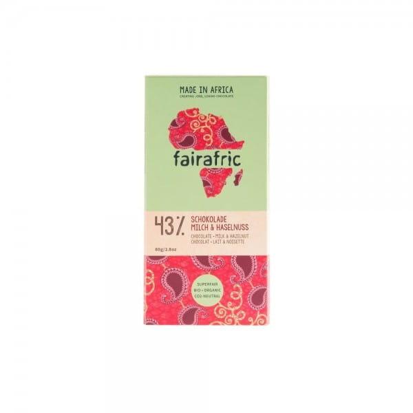 Schokolade aus Ghana Fairafric Milch Haselnuss 43% Fairtrade Bio