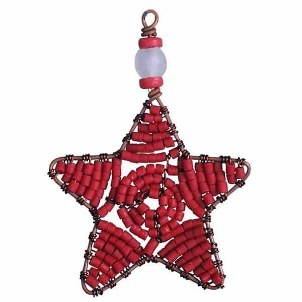 Perlenanhänger Stern - Rot Groß - Upcycling