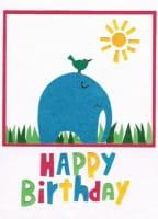 Recycling Geburtstagskarte - Bird & Elephant