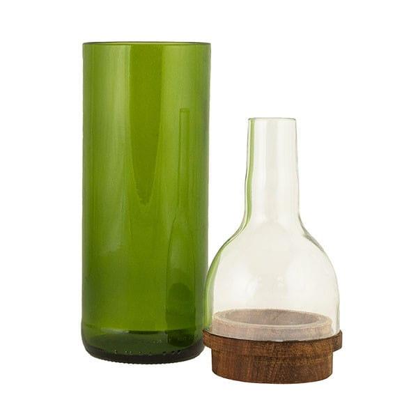 Upcycling Blumenvase - Chunga - Grün/Klar