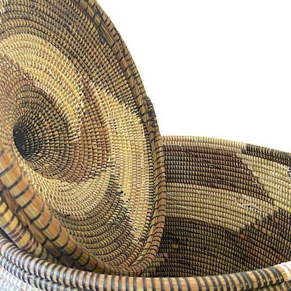 Wäschekorb Senegal L - Zick Zack - Braun/Weiss