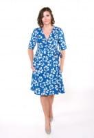Wrap Dress 3/4 - Tropics Ocean - Blau