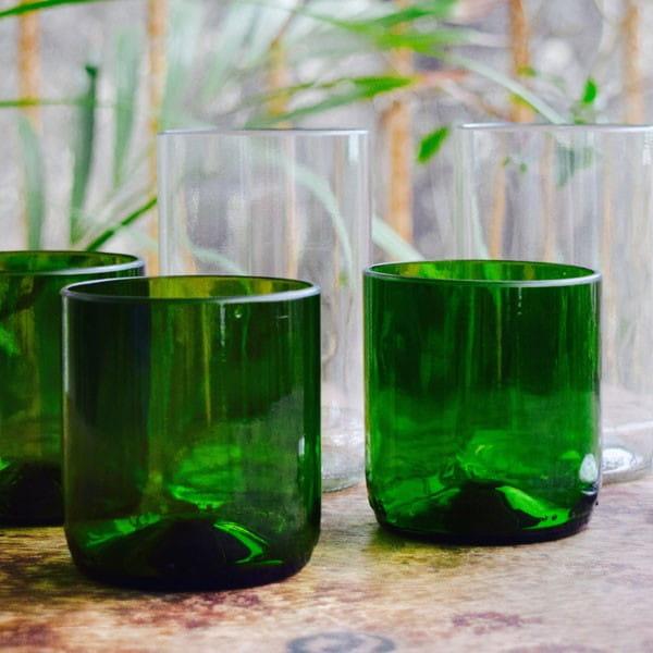 Upcycling Gläser - 3er-Set Grün - Weinflasche