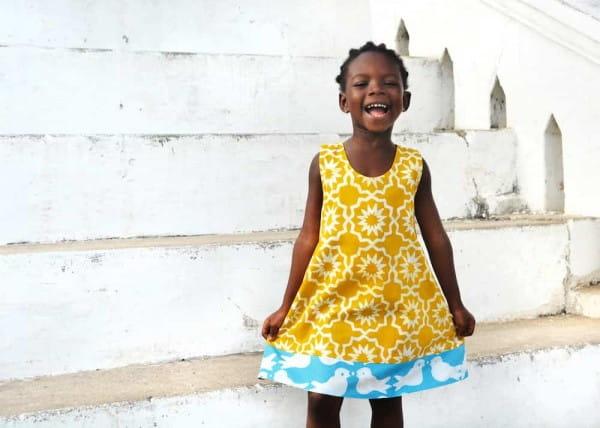 Girls Reversible Dress - Chroma Mustard