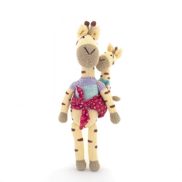 Giraffe Kuscheltier, Stofftier, Gogo Olive, Mama und Baby, Stricktiere
