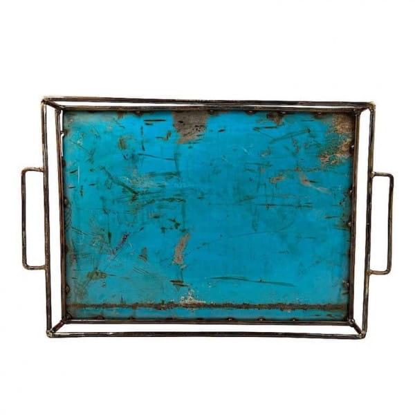 Ölfass Upcycling Tablett Moogoo Creativ Blau Tuerkis Blau Industrial Design