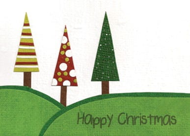 Recycling Weihnachtskarte - Three Trees
