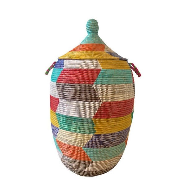 Wäschekorb Senegal XL - Zick Zack - Bunt