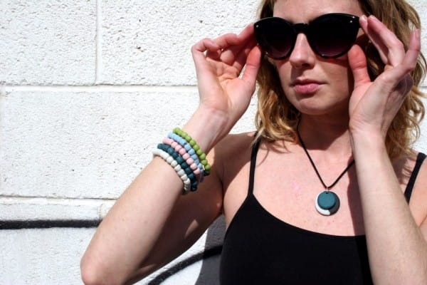 Upcycling Armband - Weiß - Glasperlen