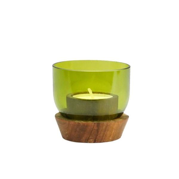 Upcycling Windlicht und Teelichthaler - Weinflasche Grün von Chako Zanzibar Contigo Fairtrade