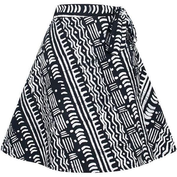 Bio Wickelrock Minirock A-Linie Damen Ethno Muster Global Mamas Fairtrade Afrika