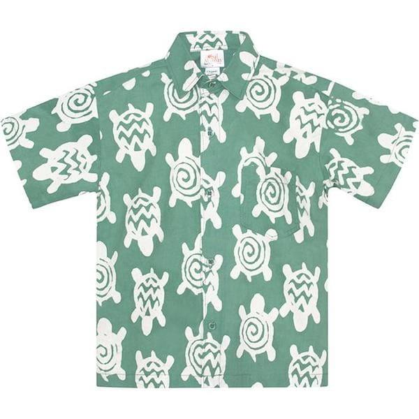 Boys Button Down Shirt - Turtle - Grün