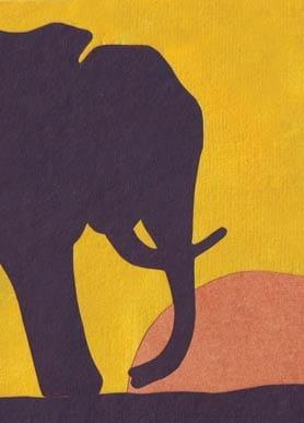Recycling Grußkarte - Sunset Elephant