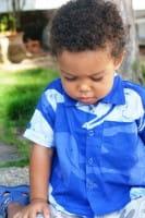 Boys Button Down Shirt - Elephants - Blau