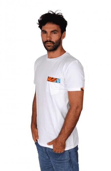 Organic Pocket T-shirt Tasche Damen Herren Weiß Kitenge