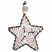Perlenanhänger Stern - Weiß Klein - Upcycling