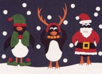 Recycling Weihnachtskarte - Penguins